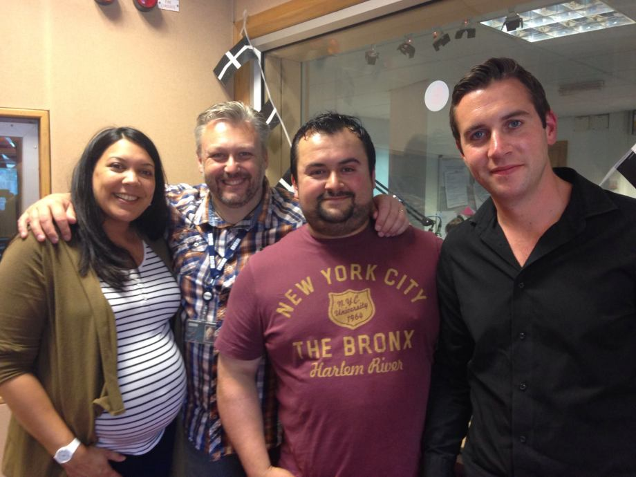 Sonia, Tom, Ross and David White at BBC Radio Cornwall, July 2015